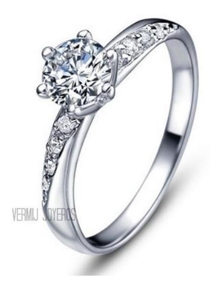 Anillo Compromiso 14k Diamantes Y Zafiro .80ct Vermij Fenix