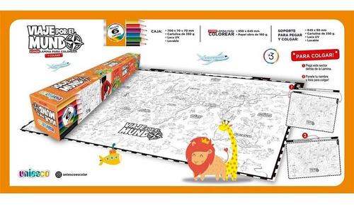 Viaje Por El Mundo Súper Lámina P/ Colorear Y Colgar 5503 Ef