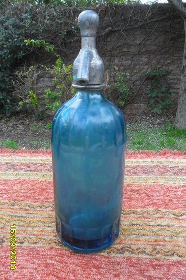 Antiguo Sifón Azul Cabeza Plomo Paternostez No Coindiente