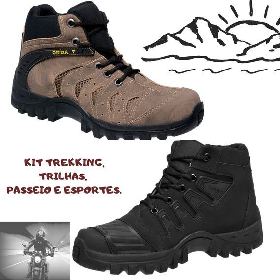 Kit De Bota Tênis Barato Adventure(1militarpreto E 1marrom)