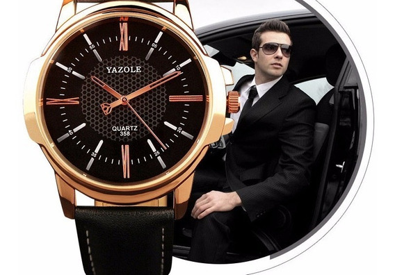 Relógio Masculino Luxo Yazole Dourado Original Elite
