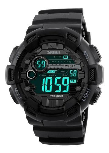 Reloj Hombre Digital Con Alarma Doble Horario,calendario Luz