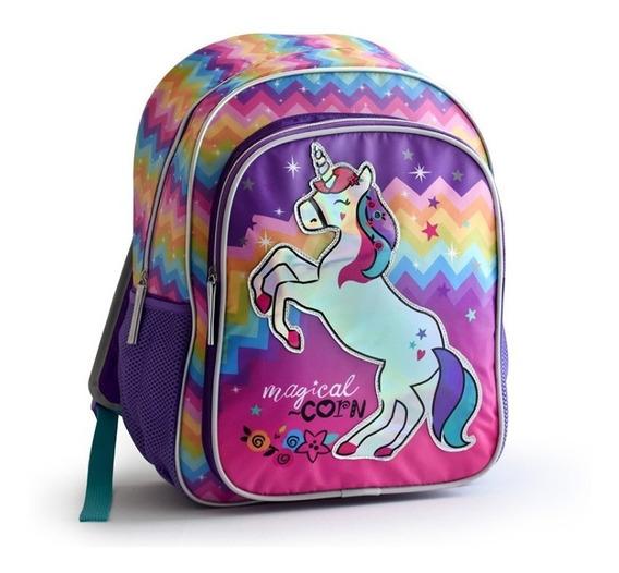 Mochila Escolar Unicornio Holografica Con Luz 2 Cierres