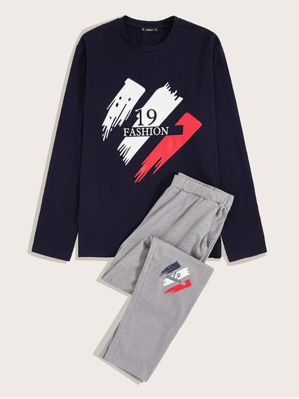 Conjunto De Pijama De Hombres Camiseta Con Estampado De Nume