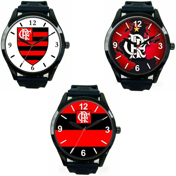 Kit 3 Relógios Pulso Esportivo Torcedor Flamenguista Mengão