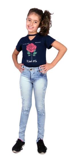 Conjunto Blusa E Calça Jeans Femimina Menina Infantil Kit 2