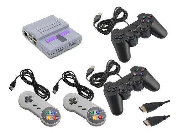 Vídeo Game Retro Super Nintendo Snes 14000 Jogos 4 Controles