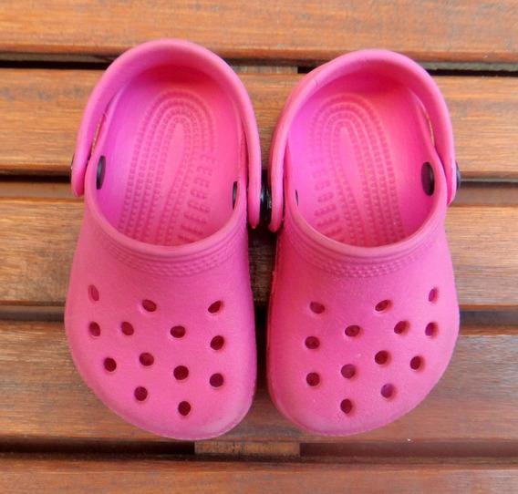 Crocs Originales Zuecos De Goma Nena Fucsia Talle 2/3