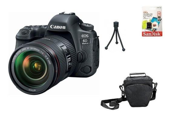 Canon 6d Mark Ii + 24-105mm F/4l Ii 32gb Bolsa Tripé Sjuros