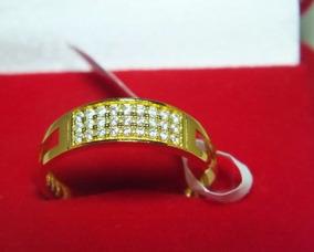Anel Semi Jóia Banhado A Ouro 24 Com Pedras Zirconias - Bn10