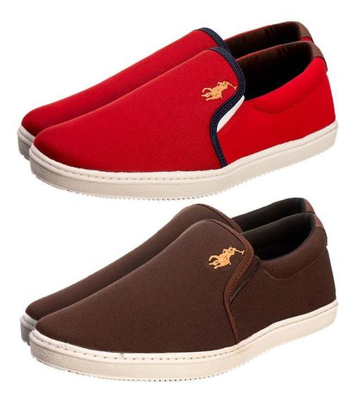 Kit 2 Sapatênis Denver Marrom E Vermelho - Sf Shoes