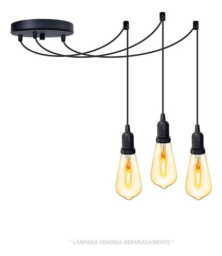 Imagem 1 de 6 de Lustre Aranha Com 3 Pendentes De 2m + Soquetes + Lampadas