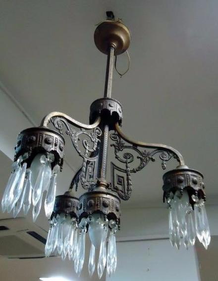Lustre Antigo Art Nouveau 4 Luzes Ano 1900