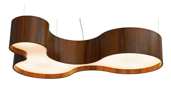 Pendente Semi Cilíndrico Curve 2 Em Madeira 80cm Union 115