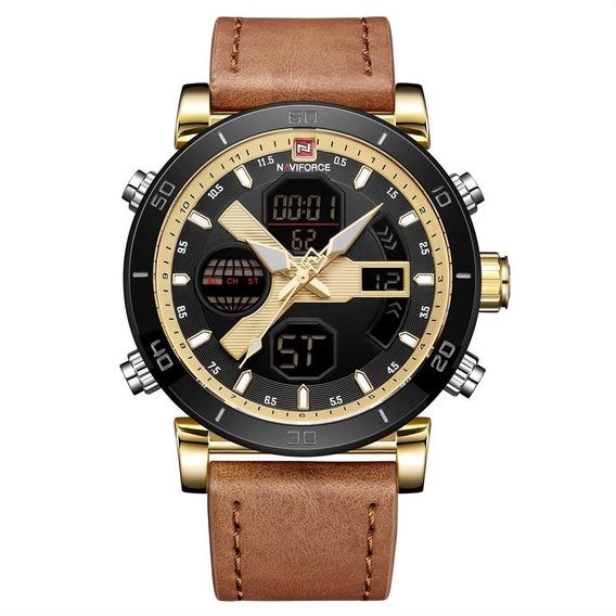 Relógio De Pulso De Quartzo Masculino Pulseira De Couro Ouro