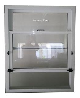 Ventanas Guillotina Aluminio Blanco 80x100 Vidrio Entero 4mm