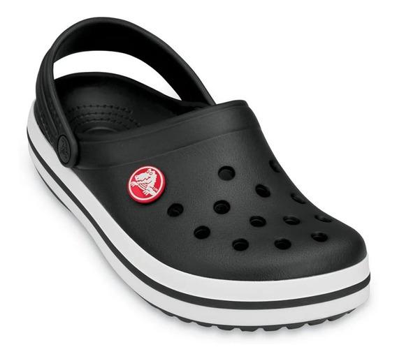 Crocs Crocsband Negro Banda Blanca Linea Negra