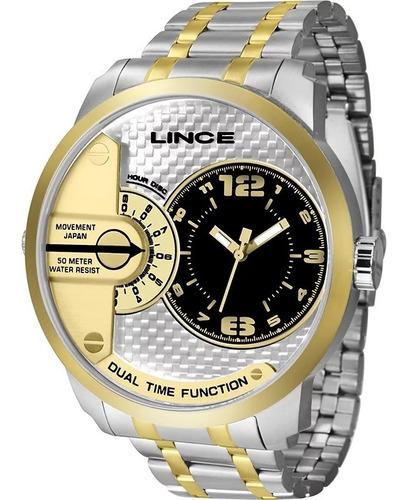 Relógio Lince Masculino Prata Com Dourado Mostrador Moderno