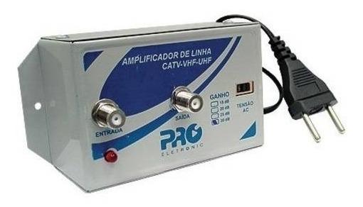 Amplificador De Linha 30 Db Pqal 3000 Vhf Uhf Proeletronic