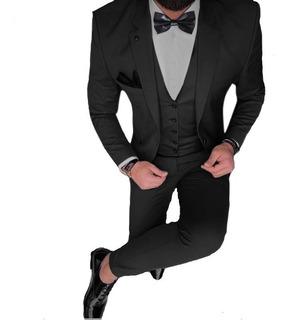 Trajes Slim Fit Con Chaleco Moño Y Camisa Elastizada Vestir