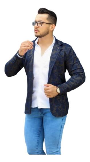 Blazer Masculino Slim Fit Azul Luxo Floral Frete Grátis 12x