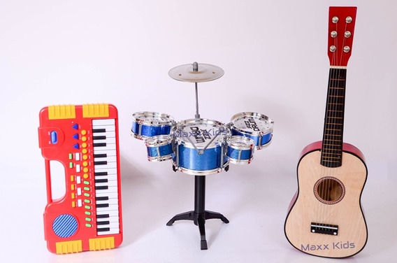 Kit Teclado + Violão + Bateria Infantil Mini 5 Tambores