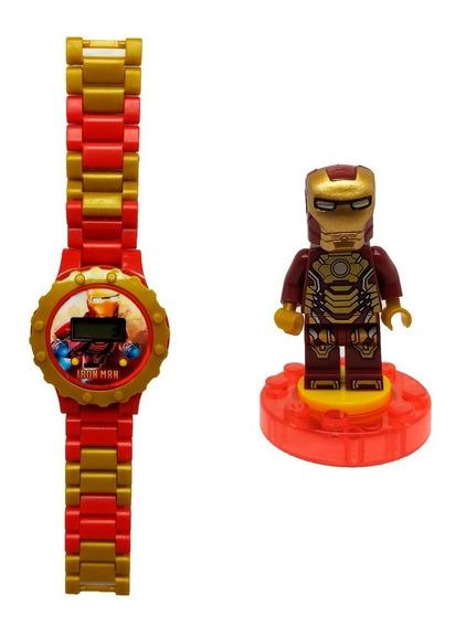 Relógio Digital Infantil Homem De Ferro + Lego