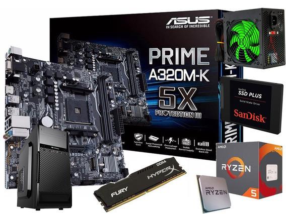 Kit Asus Prime + Ryzen 5 + Hyper X 16gb + Gab + Fonte +ssd