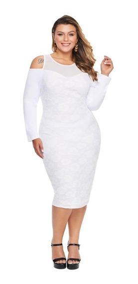 Vestido De Encaje Cuello De Malla Manga Larga Nv081