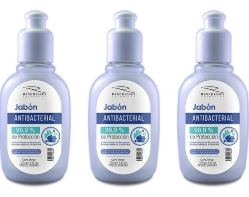 Imagen 1 de 6 de Jabón Liquido Antibacterial 100 Cc   (combo X 3)