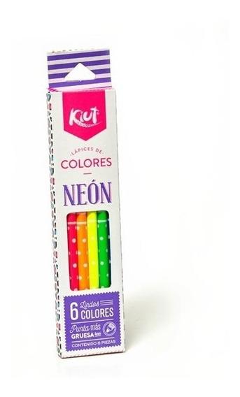 Lapices De Colores Neon Kiut 6pz