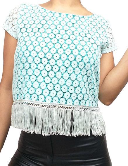 Blusa Remera Encaje Y Flecos Para Mujer.
