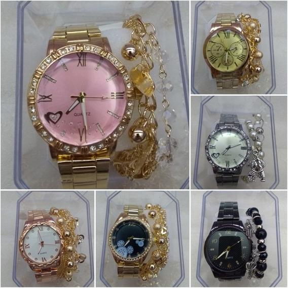 Relógio Analógico Feminino + Pulseira & Caixa - Kit 10 Und