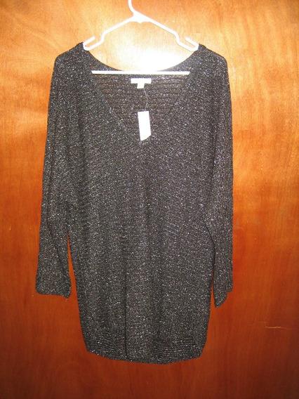 Sweater Sueter Tejido Dama Marca Ny&co Negro Talla L Origina