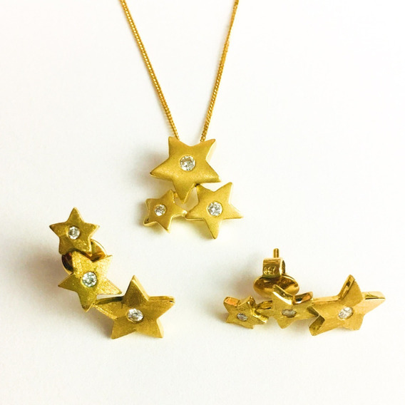 Conjunto Feminino Ouro 18k Corrente + Pingente + Brincos Estrelas Com 9 Brilhantes + Porta Joias 2000