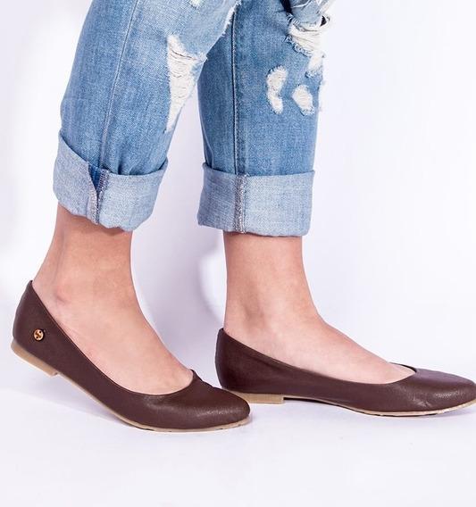 Zapatos Estilo Sandalia De Dama Comodas Ballerinas Marron