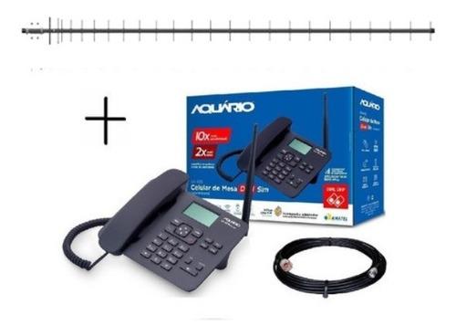 Kit Telefonia Rural Aquario Ca-42s 2 Chip Antena 20dbi
