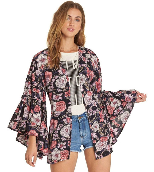 Kimono Petal Billabong All Flored Black Mujer J520qbal