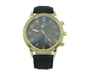 Relógio De Pulso Dourado Pulseira De Couro Preta