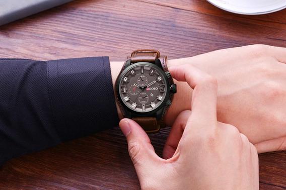 Relógio Masculino Doobo D033 Pulseira Couro