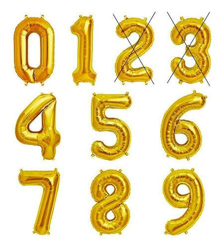 Imagem 1 de 9 de Balão Número Dourado 70cm Kit 2 Unidades