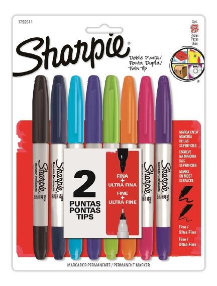 Marcadores Sharpie Permanente Doble Punta X8 Colores