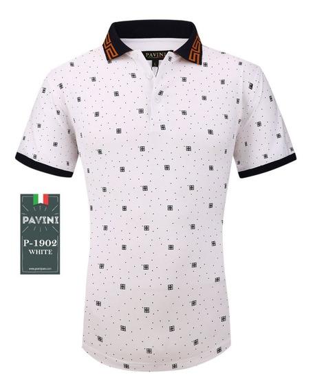 Playera Tipo Polo Caballero Marca Pavini Blanca P1902 Original Importada Usa Envio Gratis Meses Sin Interes Y Garantia
