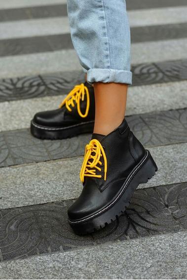 Borcegos Borceguies Mujer Dama Negros Cordones Amarillos T38