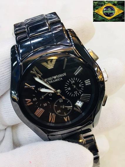 Relógio Armani Cerâmica Preto - Caixa, Manual E Certificado