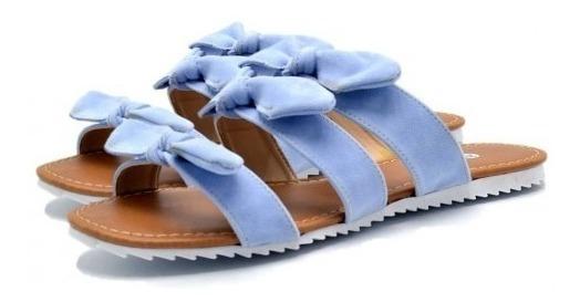 Sandália Rasteira Tiras Com Laços Cores Moda Verão Top