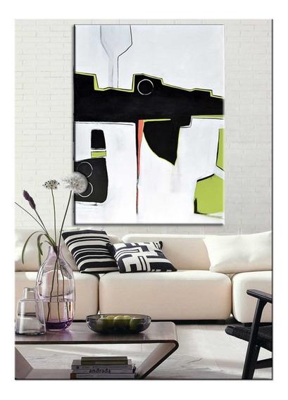Quadro Pintura Tela Abstrato Cinza Preto Verde 1,2x1,6 Metro