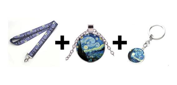 Portagafete + Collar + Llavero La Noche Estrellada Van Gogh
