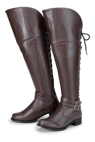 Bota Feminina Over The Knee Cano Alto Amarrar Inverno 2019