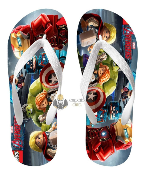 Chinelo Lego Vingadores Avengers Marvel Super Herois